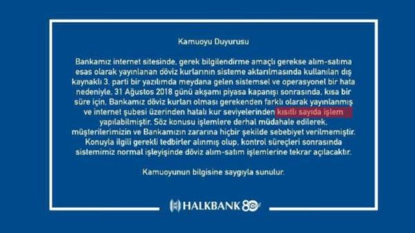 Halkbank Kamuoyu Duyurusu