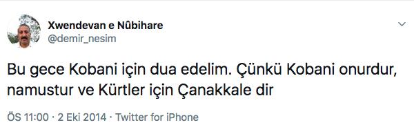 Nesim Demir Kobane Tweeti