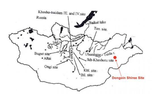 Antik Türk yazılarının ve kurganlarının Moğolistan platosundaki yerlerini gösteren harita.