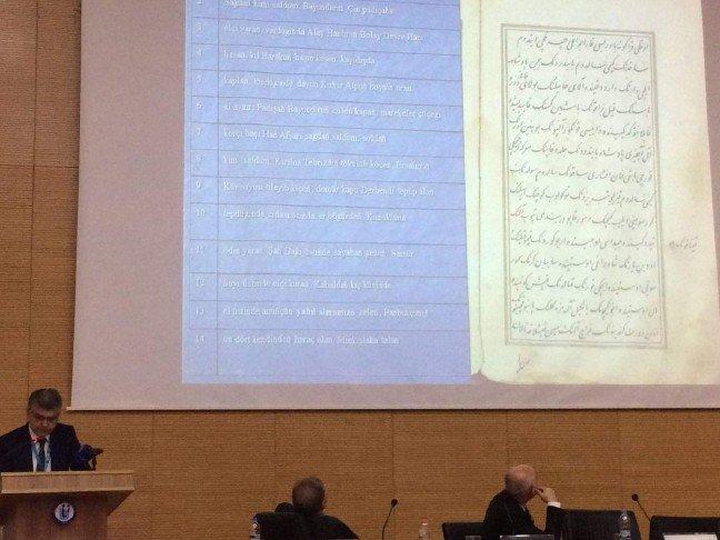 Ege Üniversitesi Türk Dünyası Araştırmaları Enstitüsü Türk Folklorü Anabilim Dalı Başkanı Prof. Dr. Metin Ekici, sempozyumda yaptığı sunumda Dede Korkut'un 3. nüshasına ait sayfaları da paylaştı.
