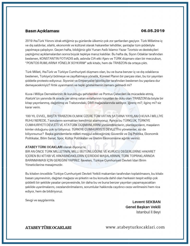 ATABEY TÜRK OCAKLARI Basın Açıklaması - 06 Mayıs 2019