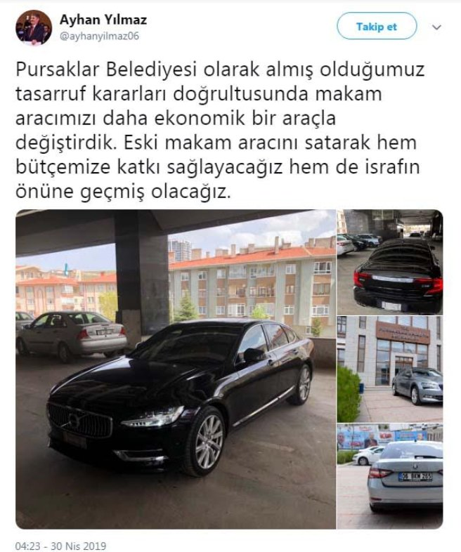 Ayhan Yılmaz'ın son icraatı lüks makam aracını satmak oldu.