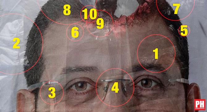 Ekrem İmamoğlu'na suikast mesajı taşıyan fotoğraftan tespit ettiğimiz objelere ait numaralandırılmış resim.