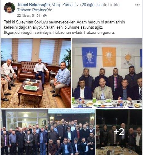 Süleyman Soylu'nun makamında solda kısa tişörtlü olan uyuşturucu kaçakçılığından hapse giren ve halen AKP'de yönetici olan Temel Bektaşoğlu…