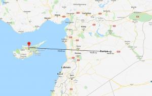 Kıbrıs'ın Taşkent bölgesi kuş uçumu olarak Suriye'nin merkezinden 506 kilometre mesafe uzaklıkta.