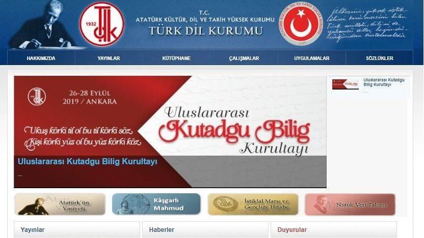 TDK internet sitesinin anasayfası