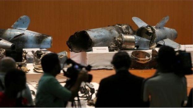 Saldırıda kullanılan füze ve İHA'ların parçaları sergilendi