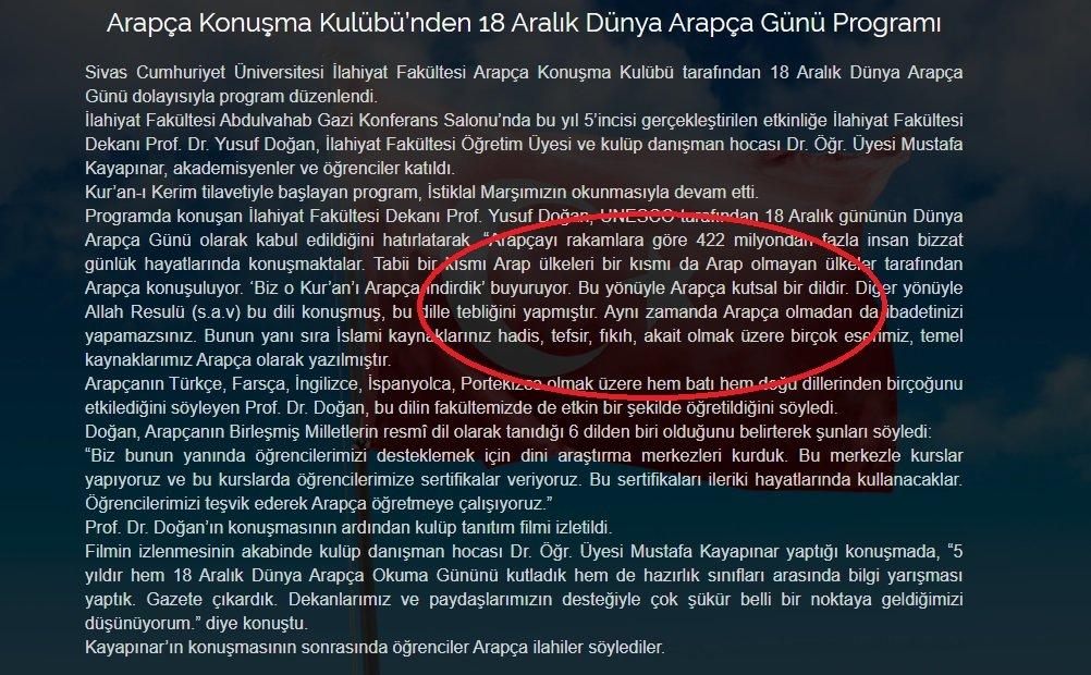 İlahiyat Fakültesi Dekanı Prof. Yusuf Doğan'ın bu sözleri üniversitenin internet sitesinde de yayınlandı.