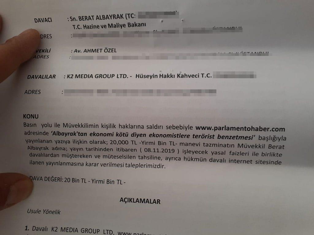 BAKAN ALBAYRAK'TAN PARLAMENTO HABER'E 20 BİN TL LİK DAVA