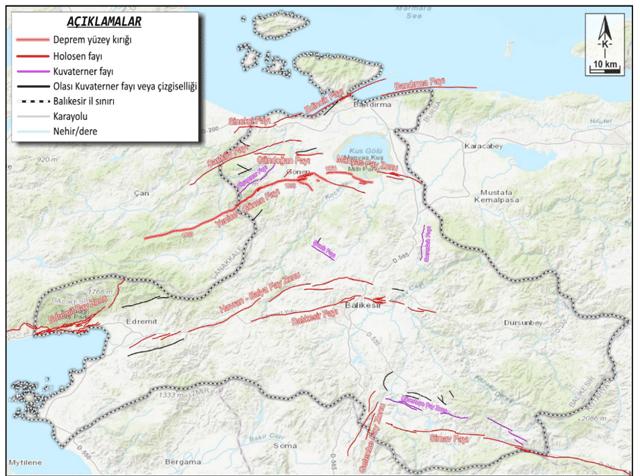Şekil 2- Balıkesir İl Sınırları İçinde Kalan Diri Fayların Yerini Gösteren DEM Görüntüsü (Diri fay yerleri Emre vd. 2010-11'den alınmıştır).