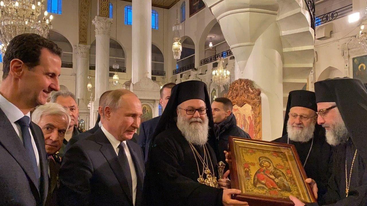 Esad ile misafir ettiği Putin, Şam'daki en eski Rum Ortodoks kiliselerinden biri olan Meryemiye Katedrali'ni Antakya ve Tüm Doğu Rum Ortodoks Patriği X. Yuhanna Yazici eşliğinde gezdi