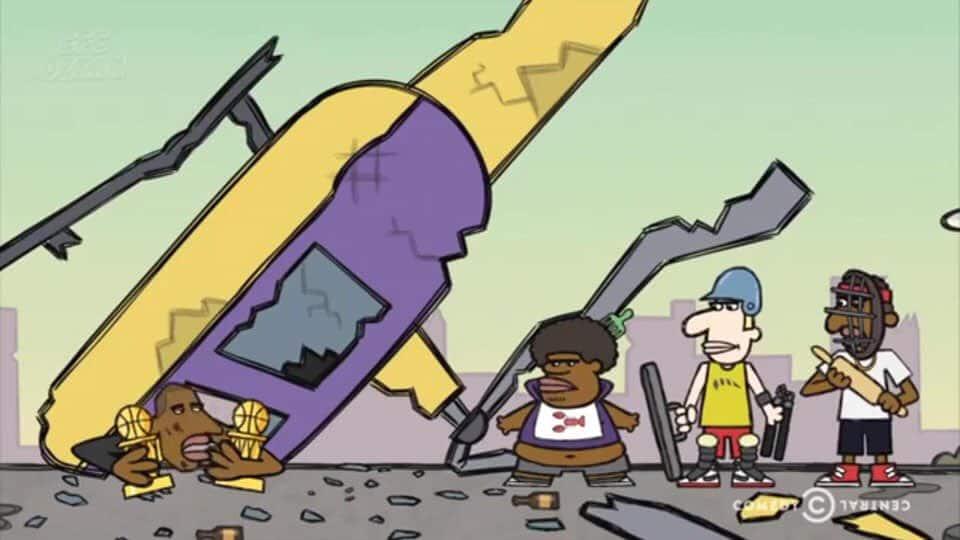 """Dünyaca ünlü NBA yıldızı basketbolcu Kobe Bryant'ın bir helikopter kazasında öleceğini önceden bilen """"Legends of Chamberlain Heights"""" isimli çizgi filmdeki 2016 yılındaki bu sahneleri konuşuyor!"""