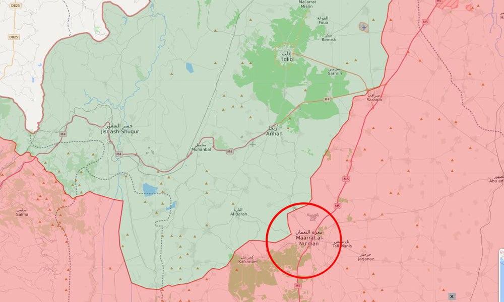 TSK'nın Suriye'ye ait savaş uçağını vurduğu noktanın M5 karayolu üzerindeki Maarratt Al Nu'man semalarında olduğu iddia edildi.