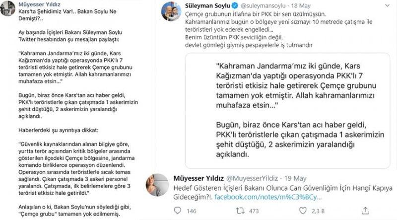 """İçişleri Bakanı Süleyman Soylu, Müyesser Yıldız için """"PKK sevici"""" dedi. Yıldız ise """"Hedef gösteren İçişleri Bakanı olunca can güvenliğim için hangi kapıya gideceğim?"""" yanıtını verdi"""