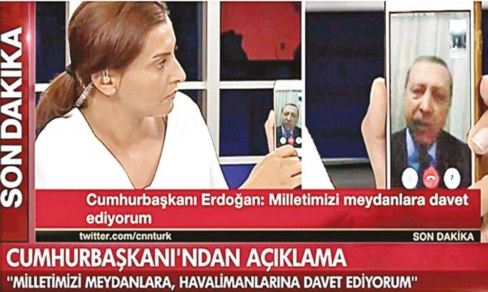 FETÖ'cü darbe girişiminin yaşandığı 15 Temmuz gecesi Erdoğan'ın CNN Türk ile yaptığı bağlantı kitapta yer alıyor.