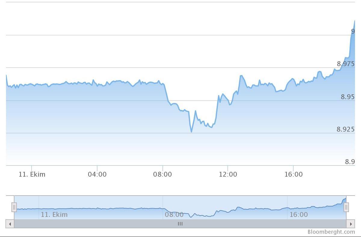 Dolar/TL 9.00 Türk Lirası seviyesini gördü.